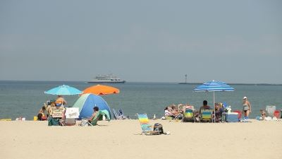 Big Umbrellas Pitched at Lewes Beach